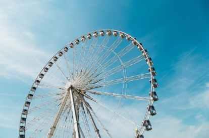amusement park blue sky bright carnival